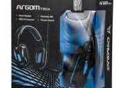 Audifono argom gaming combat usb blakc/blue arg-hs